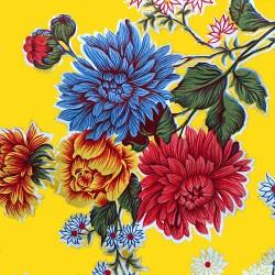 Yellow Crisantemos oilcloth offcut