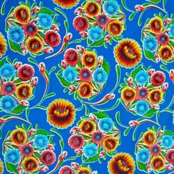 Coupon de toile cirée Dulce flor Bleu roi