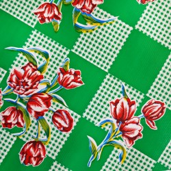 Green Tulipanes Oilcloth