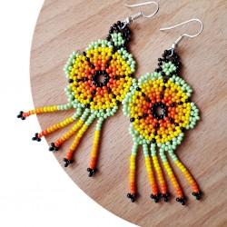 Boucles d'oreilles Fleur Orange