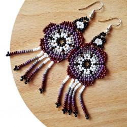 Boucles d'oreilles Fleur Violet