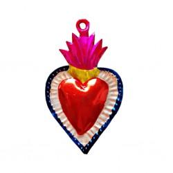 Ex voto coeur sacré bordure fleurie