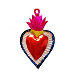 Tin sacred heart with floral border