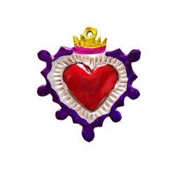 Purple Mexican tin sacred heart