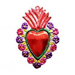 Coeur sacré à bordure fleurie Rouge