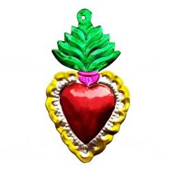 Coeur sacré avec flamme Vert