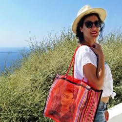 Red Frida Kahlo market bag