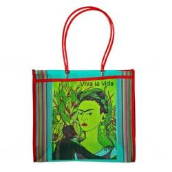 Turquoise Frida Kahlo market bag