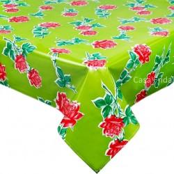 Green Rosas oilcloth
