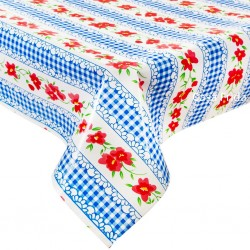 Blue Gingham and flowers oilcloth