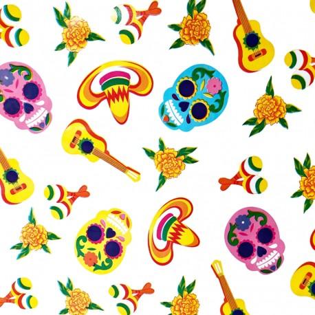 Hule Calaveras Blanco