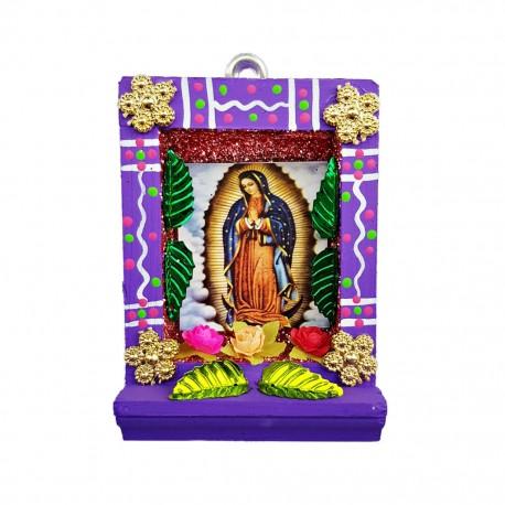 Pequeño nicho Virgen de Guadalupe Morado
