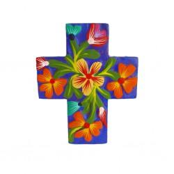 Cruz de flores Azul