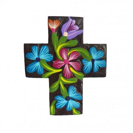 Cruz de flores Negro