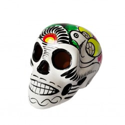 White Sugar skull with bird