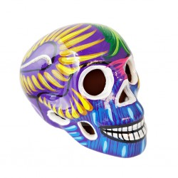 Purple Sugar skull with bird