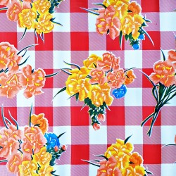 Red Claveles oilcloth