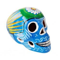 Calavera mexicana con pájaro Azul