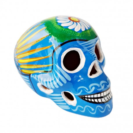 Blue Sugar skull with bird