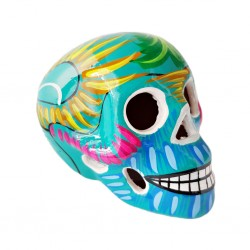 Turquoise Sugar skull with bird