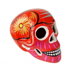Orange Sugar skull with bird