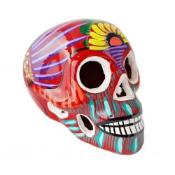 Red Sugar skull with bird