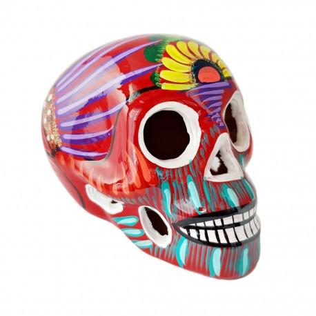 Red Sugar skull with bird