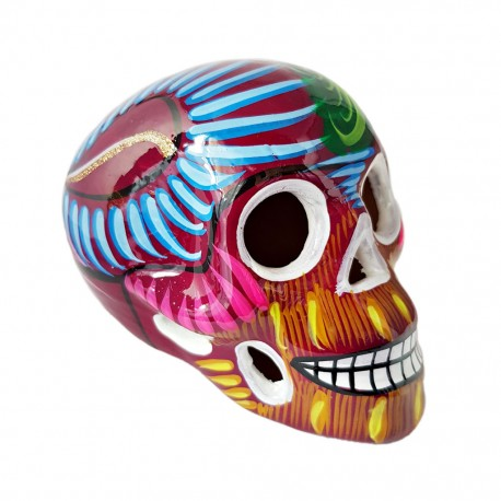 Burgundy Sugar skull with bird