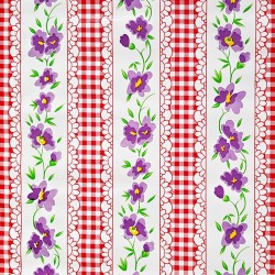 Red Gingham and flowers oilcloth