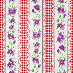 Toile cirée Vichy à fleurs Rouge