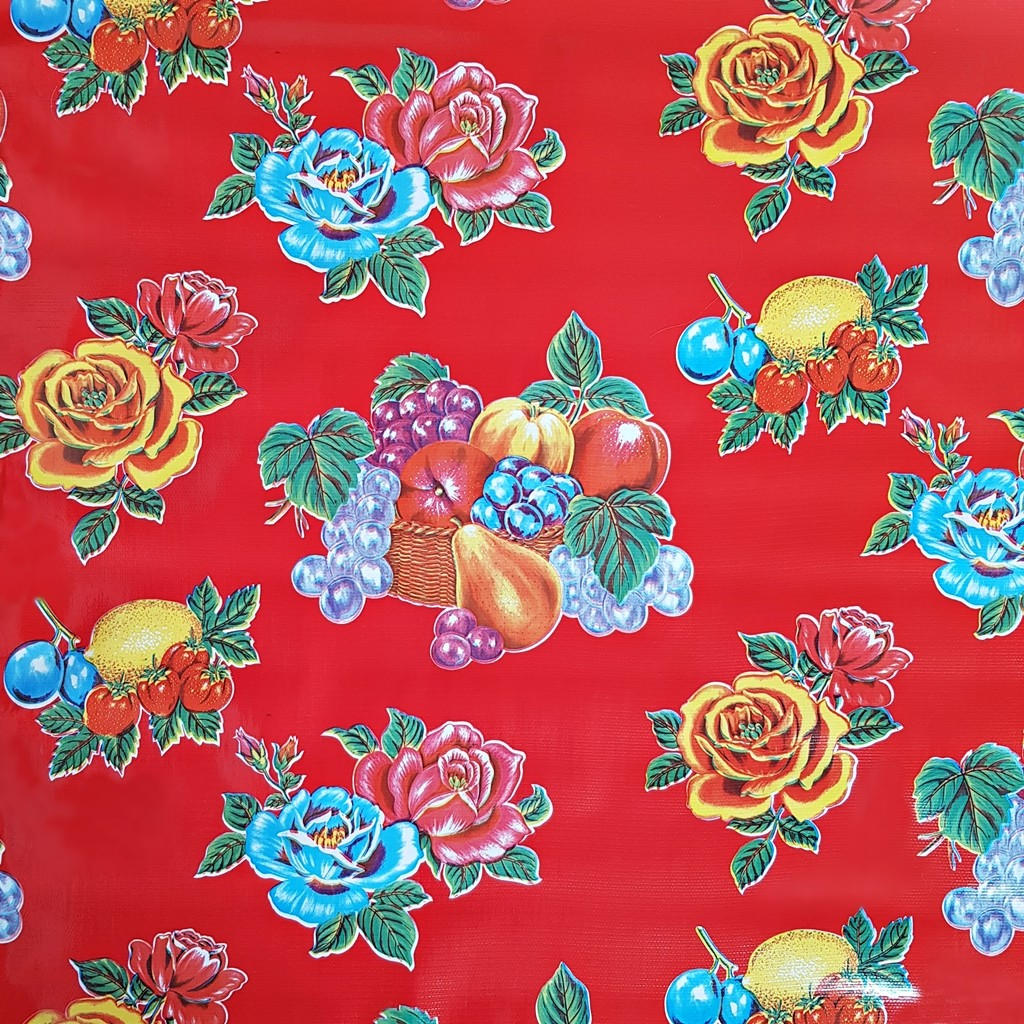 New Mexican Oilcloth Fabric PVC Cotton Waterproof Red Flowers 50 Cm  X 120 Cm