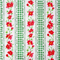 Green Gingham and flowers oilcloth