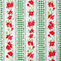 Toile cirée Vichy à fleurs Vert