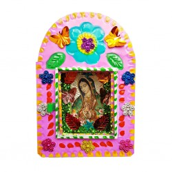 Pink Virgin of Guadalupe tin shrine