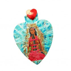 Blue Frida sacred heart magnet