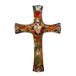 Green Sacred Heart cross