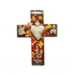 Petite croix Milagro Coeur sacré