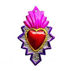 Sagrado corazón con llama Rosa