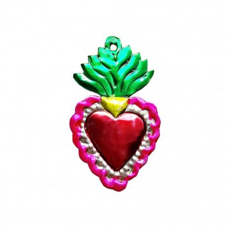 Green Tin flaming sacred heart