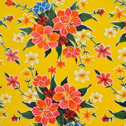 Yellow Hibisco oilcloth offcut