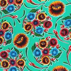Turquoise Dulce flor oilcloth offcut