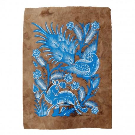 Pintura Otomi Animales Azul