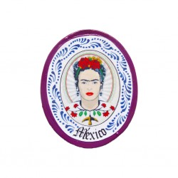 Purple Frida Kahlo miniature plate magnet