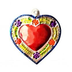 Sagrado corazón florido Azul