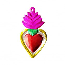 Pink Tin flaming sacred heart