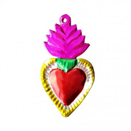 Pink Tin flaming sacred heart