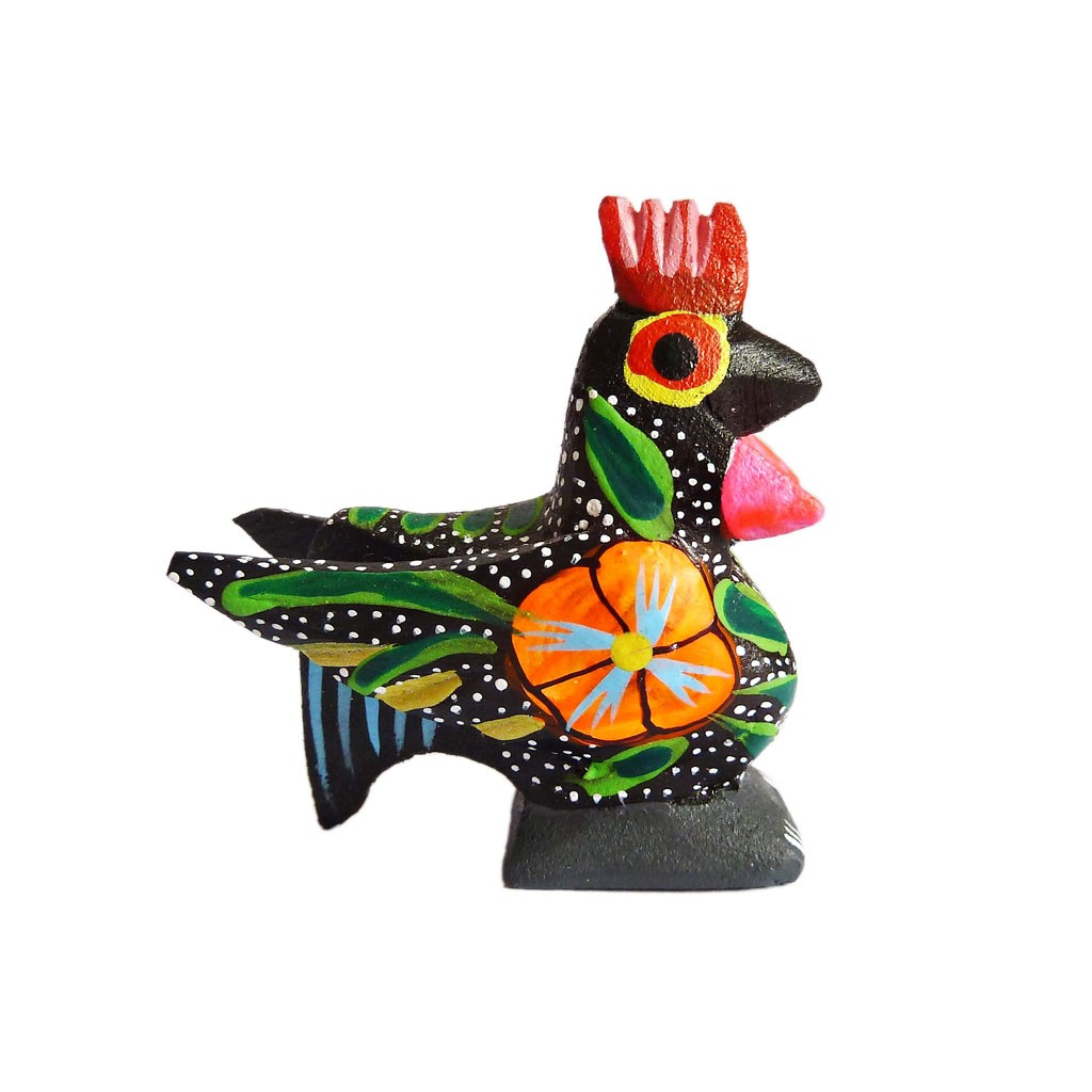 Black Rooster Alebrije Ethnic Chic Style Wood Carving Casa Frida