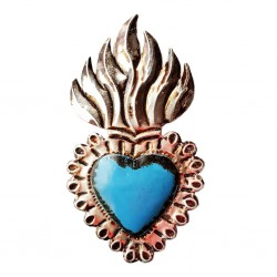 Coeur sacré enflammé Bleu