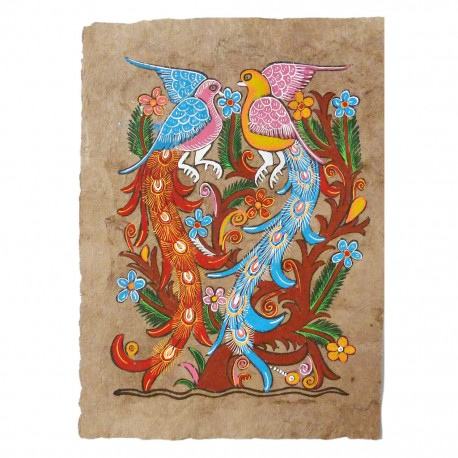 Peacocks Otomi painting