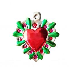 Flowery halo Tin sacred heart